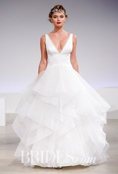 """Roxie"" deep v-neck ball gown with tiered tulle skirt, Blue Willow Bride by Anne Barge"