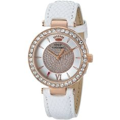 Juicy Couture Luxe Couture Analog Display Quartz White Watch (395 BRL) ❤ liked on Polyvore featuring jewelry, watches, analog wrist watch, couture watches, quartz wrist watch, juicy couture and analog watches