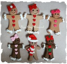 6 count  Polymer clay Gingerbread Girl Hair Bow by PegsClayGround