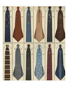 1956 Men's Fashion Ties PRINT AD features 12 vintage designs Fun for framing Cool Tie Knots, Cool Ties, Vintage Fashion 1950s, Vintage Fur, Victorian Fashion, Vintage Style, 1950s Mens Ties, Mens Fashion, Fashion Trends