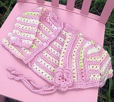 Crochet baby sweater and hat set, pink sweater,  white, green by OnceUponARoll, $32.00 USD www.etsy.com/shop/onceuponaroll www.zibbet.com/onceuponaroll