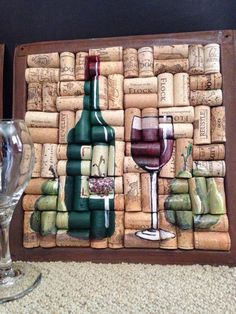 Wine bottle glass painting on cork with pears by WineALotMore - Madie U. Wine bottle glass painting on cork with pears by WineALotMore - Madie U.- Wine bottle glass painting on cork with pears by WineALotMore – ideas Easy Wine Cork Art, Wine Glass Crafts, Wine Craft, Wine Bottle Crafts, Diy Bottle, Wine Cork Projects, Wine Bottle Corks, Liquor Bottles, Glass Bottles