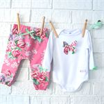 Perfect Floral Baby Girl Harem Pants and 3D Butterfly Onesie