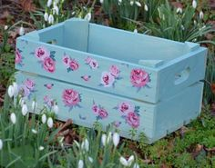 How pretty! A wooden crate box for Mother's Day! Prepare something similar yourself and get one of our plain wooden crates or apple boxes and decorate it yourself. You could use decoupage paper as well. More Mother's Day DIY gift ideas and inspiration at www.craftmill.co.uk