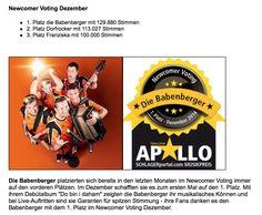 Die Babenberger auf Platz 1 im Newcomer Voting auf www.schlagerportal.com Movie Posters, Movies, Music, 2016 Movies, Film Poster, Films, Popcorn Posters, Film Books, Billboard