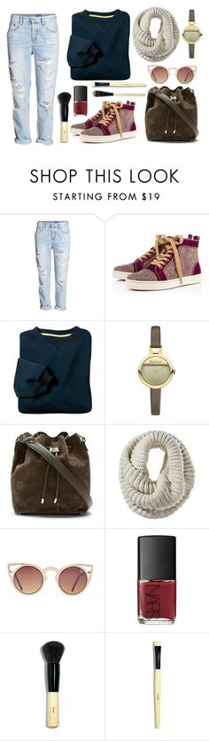 """""""A frantic day"""" by bacallera ❤ liked on Polyvore featuring H&M, Christian Louboutin, Barbour, Proenza Schouler, Mossimo, Quay, NARS Cosmetics and Bobbi Brown Cosmetics"""