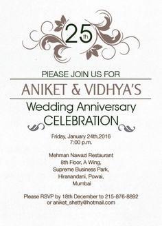 simple 25th wedding anniversary invitation from inviteonline