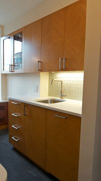 Riverside Kitchen midcentury-kitchen Disregard the color of the cabinets.  Note the geometrical pattern