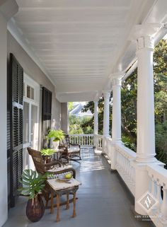 Porch to the Historic Charleston's Battery Home (c.1857) redesigned by Amy Vermillion Interiors.