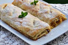 Cand ai pofta de un desert rapid,un strudel rapid cu mere,este o idee de … Strudel, Lasagna, Food And Drink, Bread, Ethnic Recipes, Desserts, Recipes, Tailgate Desserts, Deserts
