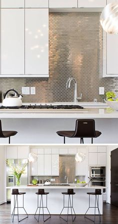 Kitchen Design Idea - Install A Stainless Steel Backsplash For A Sleek Look | Small stainless steel tiles have been arranged in a brick-like pattern to contrast the white cabinetry and to help brighten the kitchen.