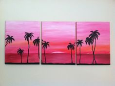 Abstract Beach silhouette- ORIGINAL ACRYLIC on CANVAS. $25.00, via Etsy.