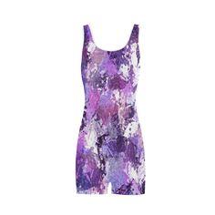 Purple Paint Splatter Classic One Piece Swimwear