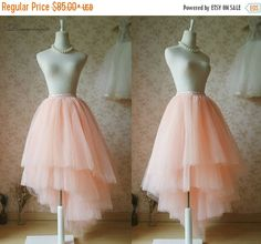 Tiered Tutu Skirt Blush Bridal Tutu Ballerina Skirts. Adult Elastic Waist Plus Size Tulle Blush Skirt. Summer Blush long tulle Skirt (WD20)