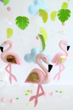 Bebé móvil móvil de bebé de fieltro Flamingo mobile