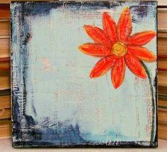 mixed media art, orange flower