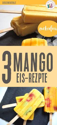 MANGO! Mit dieser tollen, gelben Frucht lassen sich ganz schnell und einfach 3 tolle Eisrezepte umsetzen: 3 Mangos = 3 Rezepte Ohne Zucker Ohne Eismaschine kindgerecht und richtig sommerlich lecker!!