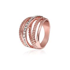 Cindiry 1pc Multilayer Hollow Rings for Women Trendy Jewelry Female Finger Ring Cubic Zirconia Rose Gold Color Jewelry P1 #Affiliate