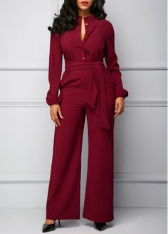 Long Sleeve Button Up Belted Jumpsuit on sale only US$35.78 now, buy cheap Long Sleeve Button Up Belted Jumpsuit at Rosewe.com
