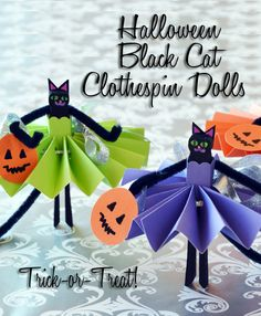 Black Cat Clothespin Dolls - Adorable Halloween craft project for kids! This how to has instructions for making these cute cats, including how to make the ballerina tutus and pumpkin treat bags!