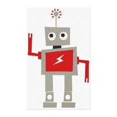 Robot with red lightning on torso gallery wrap canvas