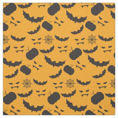 Halloween fabric with bats, devil faces, pumpkins