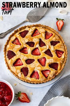 This Strawberry Almond Tart recipe is filled with fresh strawberries and a soft almost chewy French almond filling. Its easy to make an absolute family favourite dessert and the perfect summer fruit tart. Easy Tart Recipes, Pastry Recipes, Best Dessert Recipes, Pie Recipes, Baking Recipes, Snack Recipes, Appetiser Recipes, Almond Tart Recipe, Almond Recipes