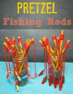 pretzel fishing rods-- this would be so cute for a baby shower or birthday party! First Birthday Parties, Birthday Party Themes, 2nd Birthday, First Birthdays, Birthday Ideas, Princess Birthday, Bar A Bonbon, Preschool Snacks, Fishing Rods