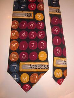"""Save the Children Silk Novelty Tie """"One + One"""" Calculator Numbers Math Teacher #Necktie"""