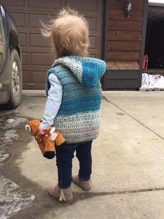 Child Hooded Vest Crochet Pattern - Crochet It Creations Crochet Boys Sweater Pattern Free, Crochet For Boys, Crochet Baby, Basic Crochet Stitches, Crochet Basics, Baby Patterns, Crochet Patterns, Crochet Waistcoat, Front Post Double Crochet
