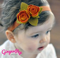 Items similar to Fall Harvest Double Rose Headband - Handmade Wool Felt Headband for Newborns, Toddlers, or Adults - Photo Prop for Fall & Thanksgiving on Etsy Felt Headband, Rose Headband, Baby Headbands, Flower Headbands, Felt Flowers, Fabric Flowers, Paper Flowers, Felt Diy, Felt Crafts