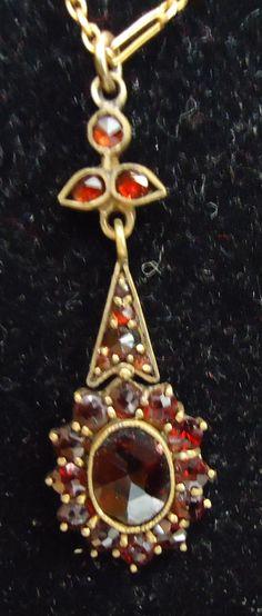 Bohemian Garnet Pendant, 10K chain.  Check them out at The Corner Shoppe, 27 Calendar Ave, LaGrange, IL 708-579-2425