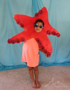 Kids' Starfish Costume (from the DIY Under-the-Sea Costume Series) by Brenda Ponnay for Alphamom.com #DIYcostume #halloweencostume #costume #kidscostume #halloween