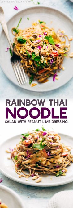 Thinking garbanzo beans can easily be subbed as the protein in this recipe. Rainbow Thai Noodle Salad with Peanut Lime Dressing - A quick, weeknight friendly noodle salad with homemade dressing, tons of herbs, and lots of veggies!