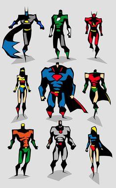 Marvel dc Motu Vector sketches by Bunka, via Behance