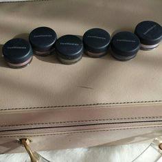 BareMinerals eyeshadows These are a group of eyeshadows put out by Bare Minerals for each day of the week but sorry to say I am missing Monday but most of us don't like Mondays anyway?? these are really good group of colors I have never use these just sitting around waiting for someone to use them so I have all of them except Monday bareMinerals Makeup Eyeshadow