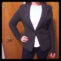 J. Crew Wool Gray Blazer Never worn wool blazer from J. Crew. Two large pockets in front. One-button closure. Three small buttons on each sleeve. Fitted fit, very warm. 100% virgin wool. Dry clean only. J. Crew Jackets & Coats Blazers