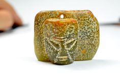 Ancient Human Face Carved Jade Pendant by FortuneJadeJewelry, £137.00