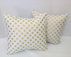 White and Gold Dot Pillow Covers/Throw Pillow by AggieRay on Etsy