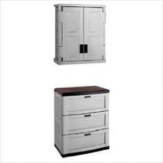Bundle-82 Garage Storage Base & Wall Cabinet Set (6 Pieces) Color: Grey by Suncast. $527.91. [***INCLUDED IN THIS SET: (3)3 Drawer Utility Storage Cabinet, (3)Utility 2-Door Grey Wall Cabinet] Color: Grey Features: -Lockable doors. Includes: -Two piece set includes base and wall cabinet. Construction: -Durable resin construction. Specifications: -Wall cabinet has 1 adjustable shelf, base has 3 drawers. Assembly Instructions: -Snap together assembly. Dimensions...