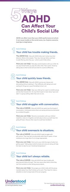 5 Ways ADHD Can Affect Social Skills ADHD can make it difficult for your child to concentrate and pay attention in school, but it affects more than just academics. ADHD can impact social skills as well. Adhd Odd, Adhd And Autism, Aspergers Autism, Adhd Help, Adhd Diet, Adhd Strategies, Adult Adhd, Trouble, Social Skills