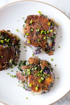 TRUFFLE SALTED PURPLE POTATO KALE CAKES - a house in the hill