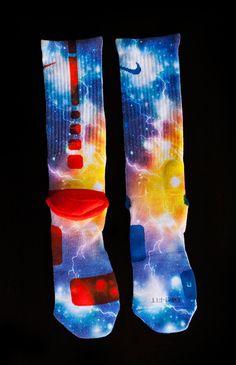Custom Nike Elite Socks - Thesockgame.com — KD Thunder Galaxies Custom Nike Elite Socks