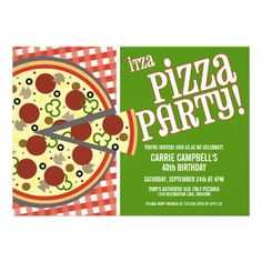 Pizza parties are always fun. I love this invitation!