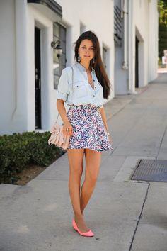 Summer Sweet - Bleached Denim Shirt + Floral Mini Skirt