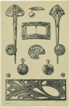 Bijoux modernes - from a series of Art Nouveau designs by Rene Beauclair Bijoux Art Nouveau, Art Nouveau Jewelry, Jewelry Art, Jewellery, Design Art Nouveau, Art Design, Modern Design, Jugendstil Design, Jewelry Design Drawing