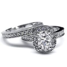 Cushion Diamond Halo Engagement Ring & Matching Wedding Ring - ES1069CUBS