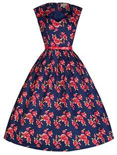 Lindy Bop 'Scarlet' Millésime 50's Romantique Fleur de Rose Imprimé Robe (38, Bleu Rouge) Lindy Bop http://www.amazon.fr/dp/B00P2GOE3Q/ref=cm_sw_r_pi_dp_JaRvub1ADP6XA