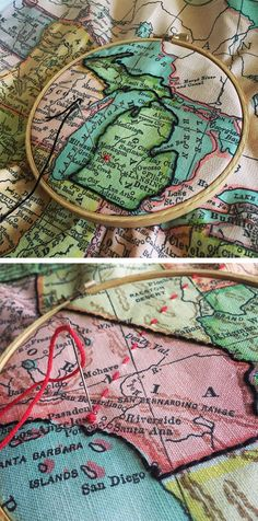 """Personalize a Map with Embroidery - Learn five ways to personalize a map with needle and thread. Pro tip! Start with a piece of embroidery floss that measures from your fingertips to your elbow (about 12-15""""). Working with shorter lengths helps minimize the natural wear and tear that occurs from drawing the floss in and out of a heavier weight fabric. Longer lengths are more likely to get twisted and knotted."""