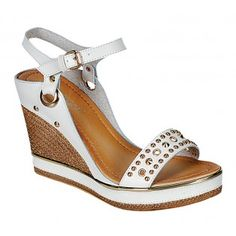 CALM-05 Women's Studded Wedges - White
